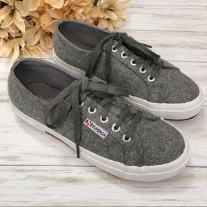 Superga Gray Wool Sneakers Low Top Lace Up